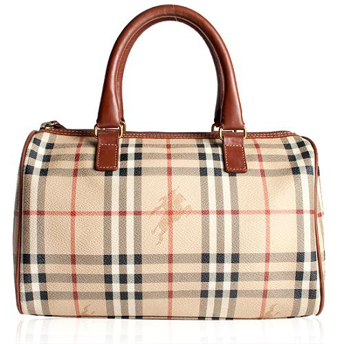 Burberry Haymarket Check Boston Satchel Handbag