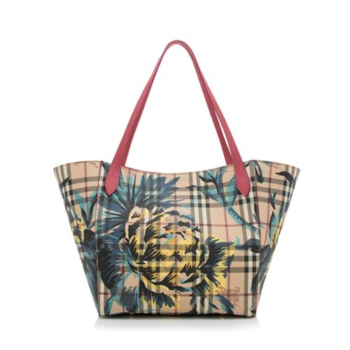 Burberry Haymarket Check Peony Rose Canter Small Tote