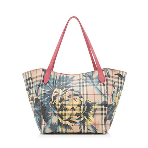 Burberry-Haymarket-Check-Peony-Rose-Canter-Small -Tote 98265 front large 0.jpg 946e5bb3c9ef1