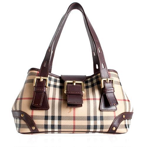 Burberry Haymarket Check Satchel Handbag
