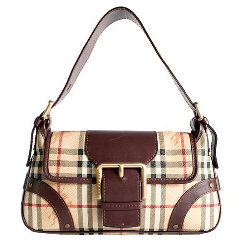 Burberry Haymarket Check Small Flap Shoulder Handbag