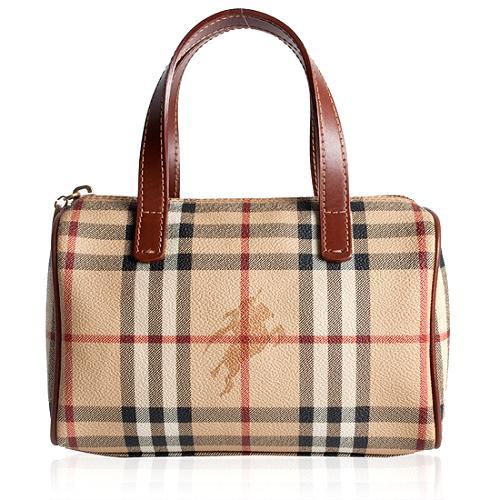 Burberry Haymarket Small Boston Satchel Handbag