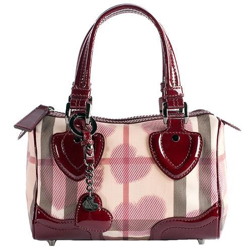 Burberry Heart Check Satchel Handbag