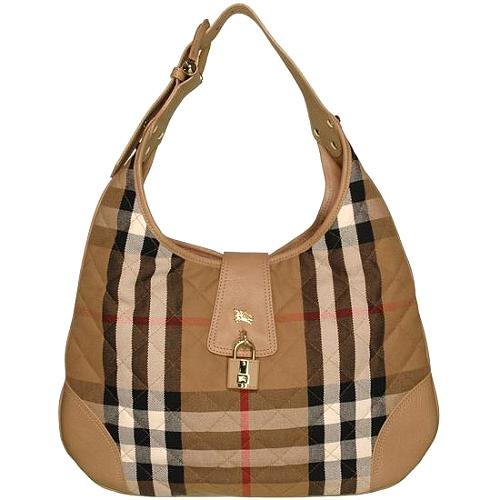 Burberry House Check Brooke Hobo Handbag - FINAL SALE