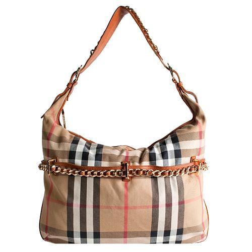 Burberry House Check Chain Hobo Handbag