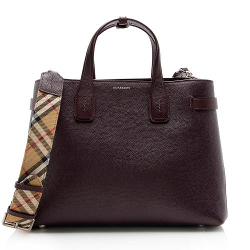 Burberry House Check Leather Banner Medium Tote