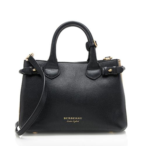 Burberry House Check Leather Banner Small Tote