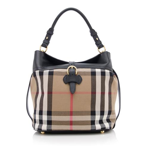 Burberry House Check Sycamore Medium Hobo