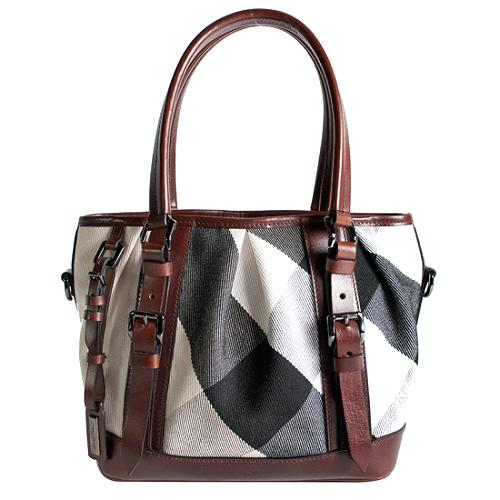 Burberry Large Canvas Mega Check Lowry Tote