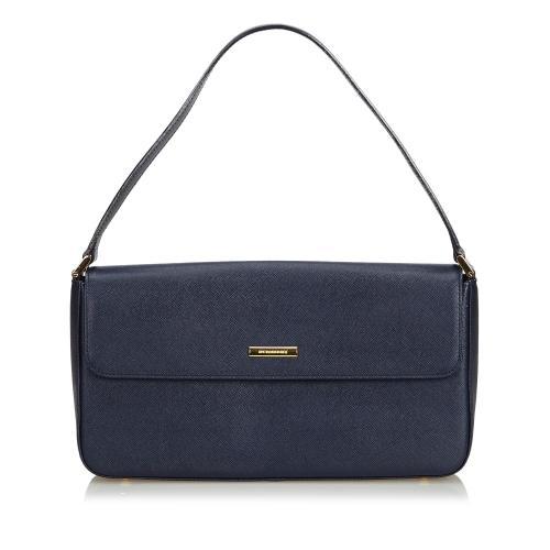 Burberry Leather Baguette Shoulder Bag