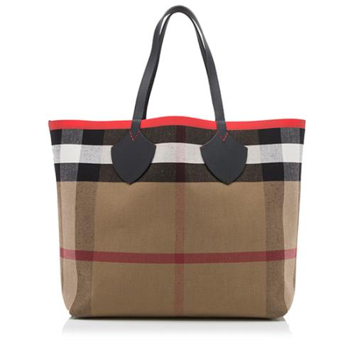 Burberry Leather Canvas Giant Reversible Tote