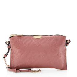 Burberry Leather Embossed Check Peyton Crossbody Bag