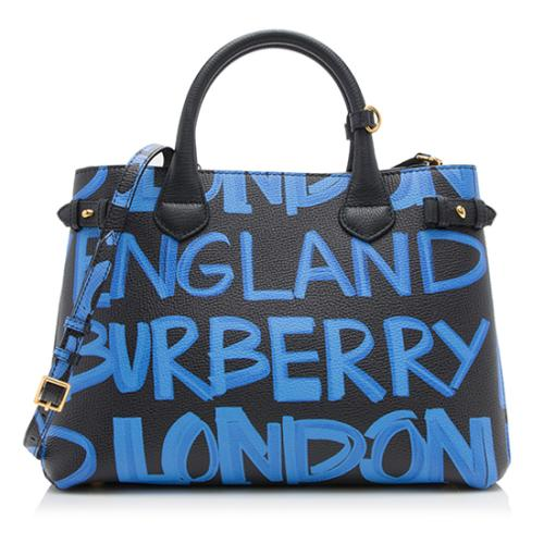 Burberry Leather Graffiti Print Medium Banner Tote