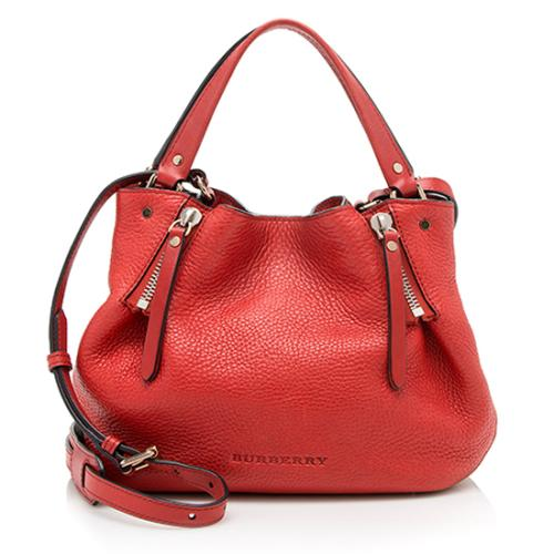 Burberry Leather Peek Check Maidstone Small Tote