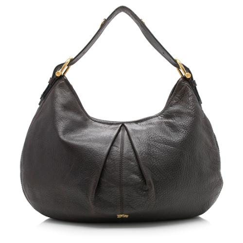 Burberry Leather Pleated Hobo
