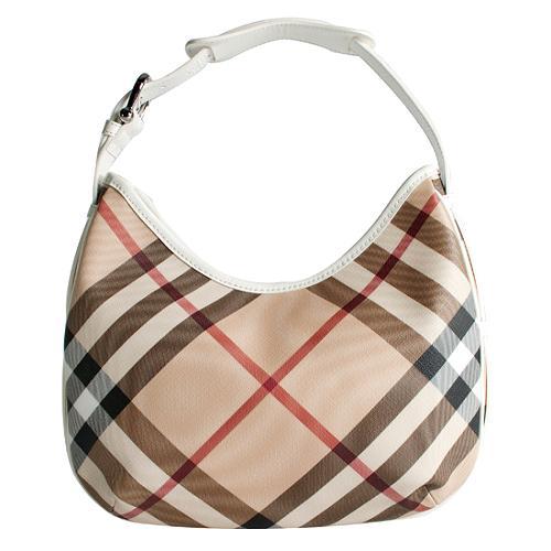 Burberry Medium Barton Nova Check Hobo Handbag