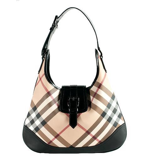 Burberry Nova Check Brooke Hobo Handbag