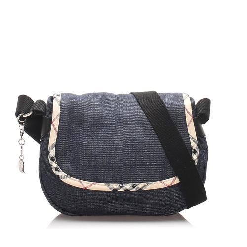 Burberry Nova Check Denim Crossbody Bag