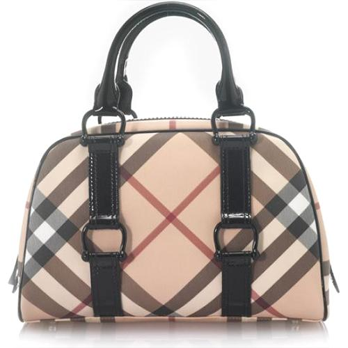 Burberry Nova Check Lacquered Satchel Handbag