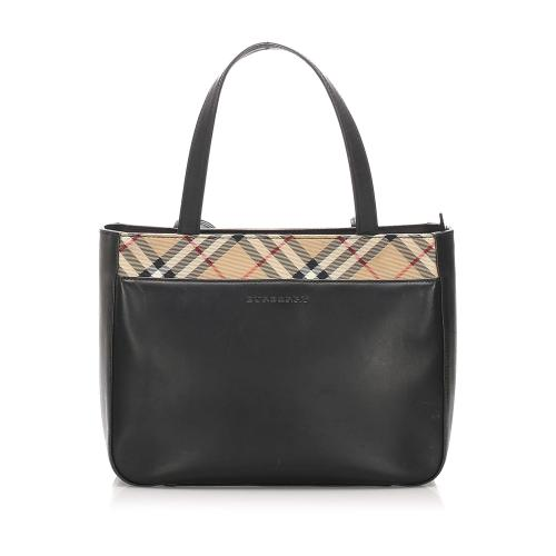 Burberry Nova Check Leather Handbag