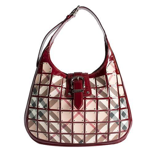 Burberry Nova Plate Patent Hobo Handbag