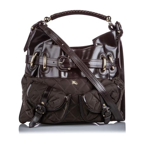 Burberry Patent Leather Nylon Bromley Hobo