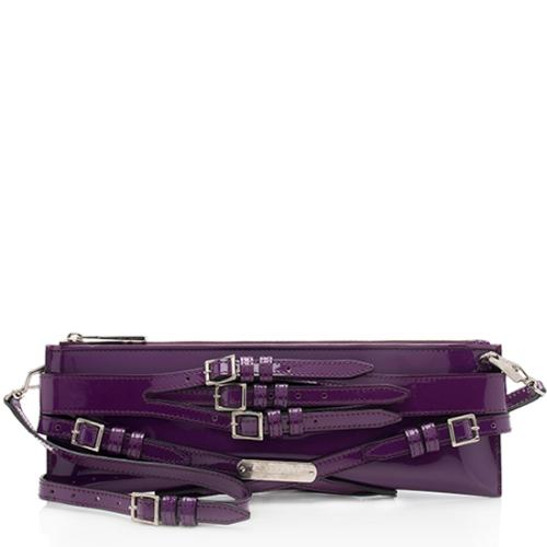 Burberry Patent Leather Bridle Clutch Shoulder Bag