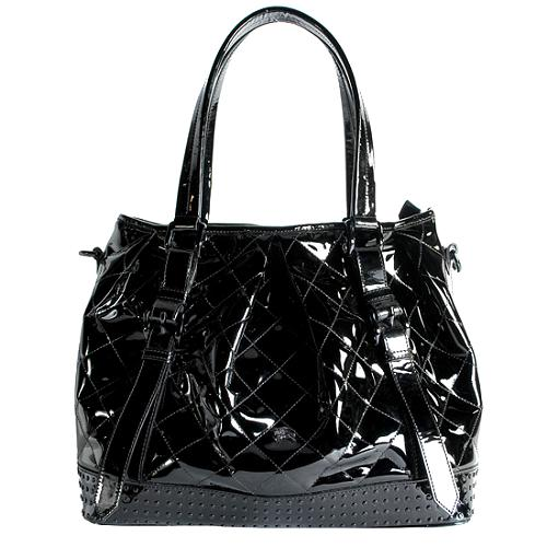 Burberry Patent Leather Lowry Tote