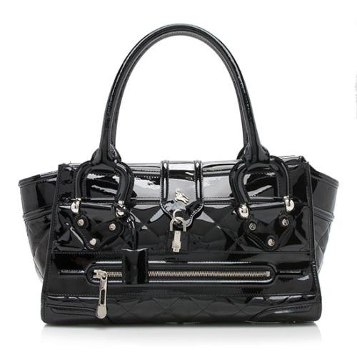 Burberry Patent Leather Manor Grande Satchel