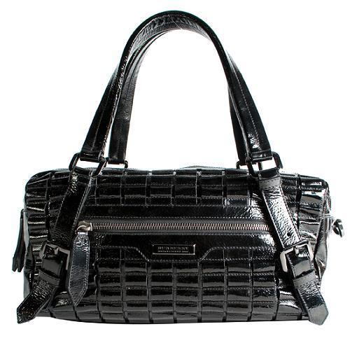 Burberry Patent Leather Newfield Satchel Handbag