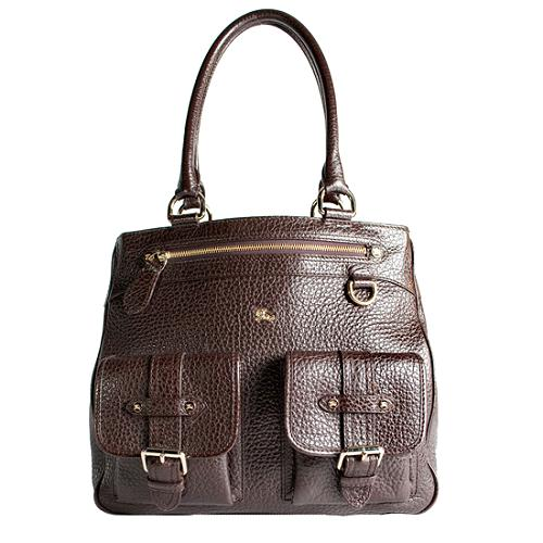 Burberry Pebbled Leather Front Pocket Tote