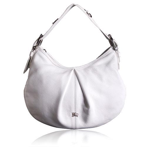 Burberry Pebbled Leather Small Malika Hobo Handbag