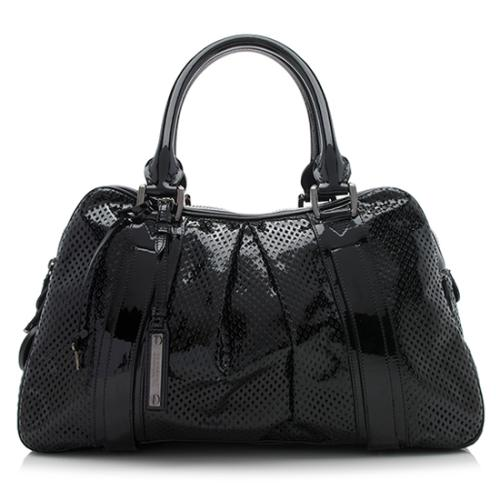 Burberry Perforated Patent Leather Bowling Satchel
