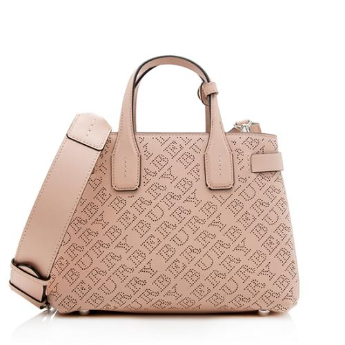 Burberry Perforated Leather Logo Banner Small Tote
