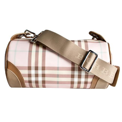 Burberry Pink Nova Check Barrel Shoulder Handbag