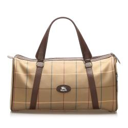 Burberry Plaid Canvas Boston Bag