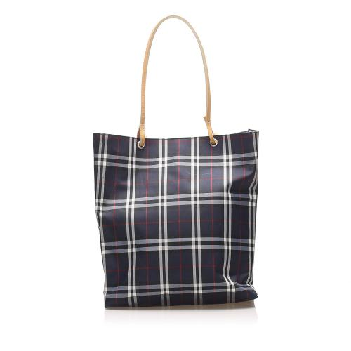 Burberry Plaid Canvas Tote Bag