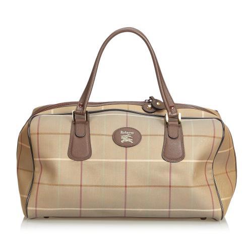 Burberry Plaid Canvas Travel Bag