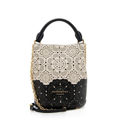 Burberry Prorsum Leather Laser Cut Leather Bucket Bag