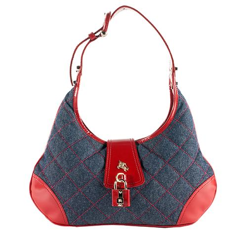 69ffa1153105 Burberry Quilted Denim  Brooke  Hobo Handbag