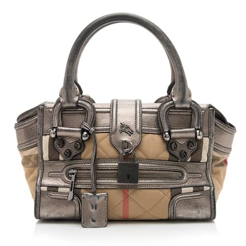 Burberry Quilted House Check Mini Manor Satchel