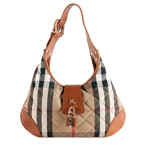 df7d3663c7d8 Burberry Quilted House Check Small  Brooke  Hobo Handbag