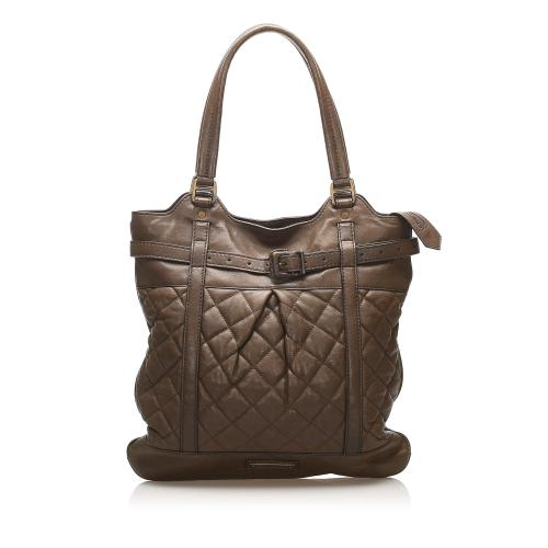 Burberry Quilted Lambskin Leather Tote Bag