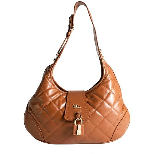 Burberry Quilted Leather Hobo Handbag