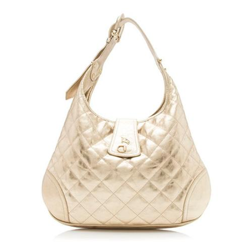 Burberry Quilted Metallic Leather Brooke Hobo