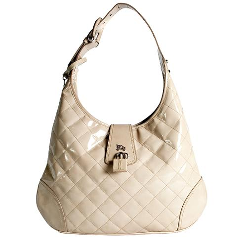 Burberry Quilted Patent Leather Brooke Hobo Handbag