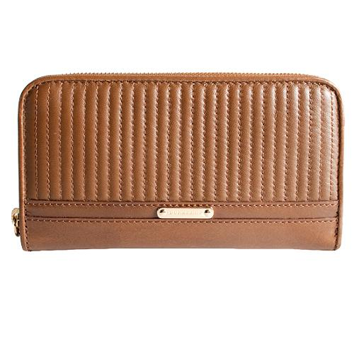 Burberry Quilted Soft Leather Zip Around Wallet