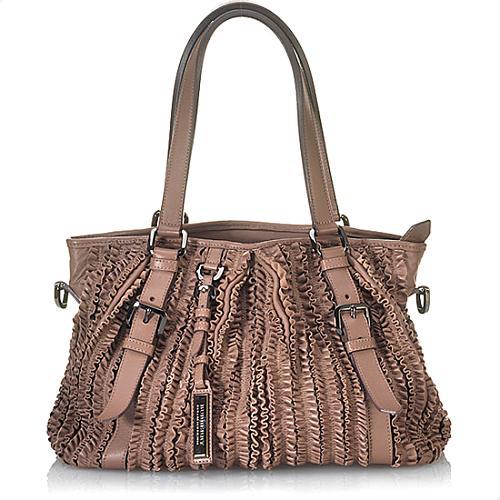 Burberry Ruched Ribbon Leather Satchel Handbag