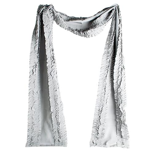 Burberry Ruched Silk Charmeuse Scarf