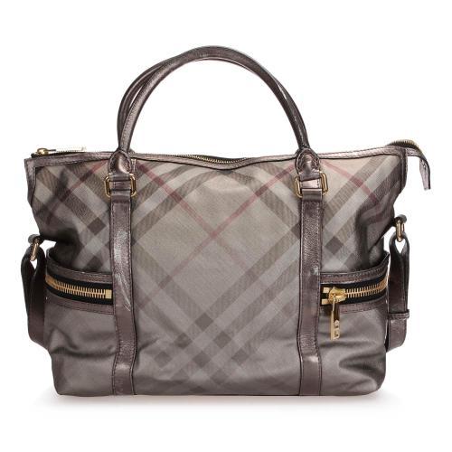 Burberry Smoke Check CoatedCanvas Handbag